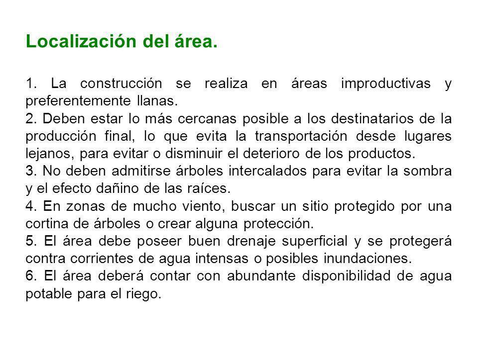 Localización del área. 1. La construcción se realiza en áreas improductivas y preferentemente llanas.