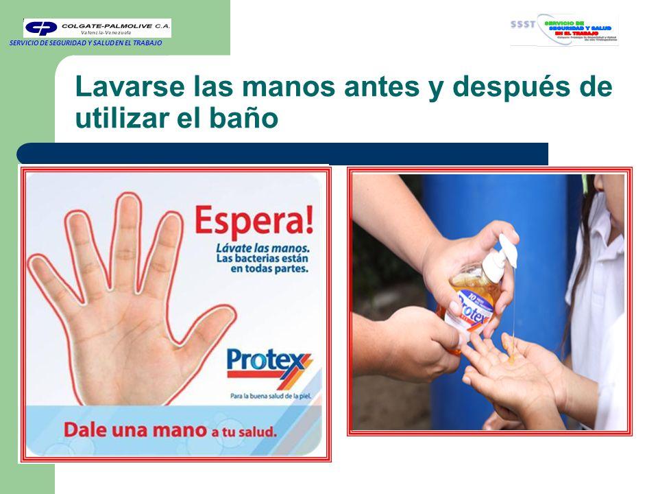 Lavarse las manos antes y después de utilizar el baño