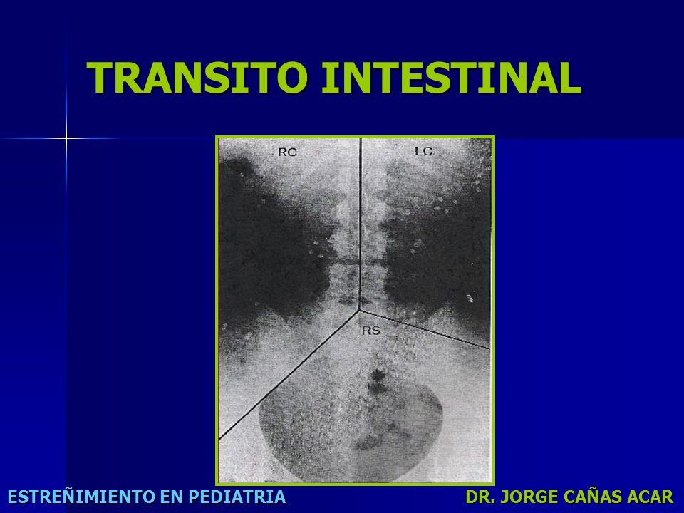 TRANSITO INTESTINAL ESTREÑIMIENTO EN PEDIATRIA DR. JORGE CAÑAS ACAR