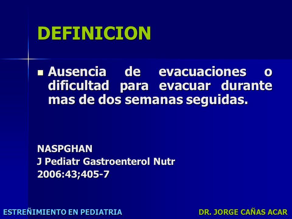DEFINICION Ausencia de evacuaciones o dificultad para evacuar durante mas de dos semanas seguidas. NASPGHAN.