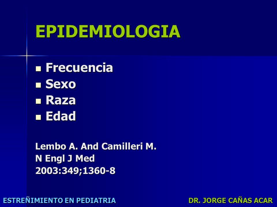EPIDEMIOLOGIA Frecuencia Sexo Raza Edad Lembo A. And Camilleri M.