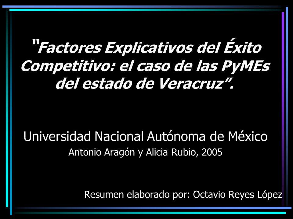 Factores Explicativos del Éxito Competitivo: el caso de las PyMEs del estado de Veracruz .