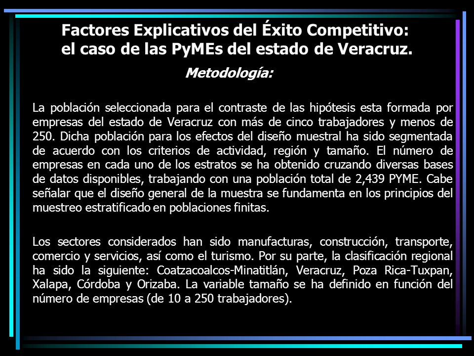 Factores Explicativos del Éxito Competitivo: el caso de las PyMEs del estado de Veracruz.