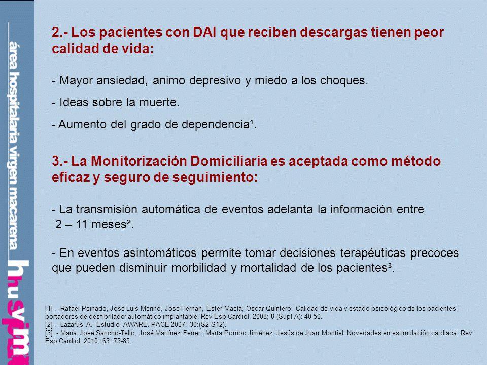 2.- Los pacientes con DAI que reciben descargas tienen peor