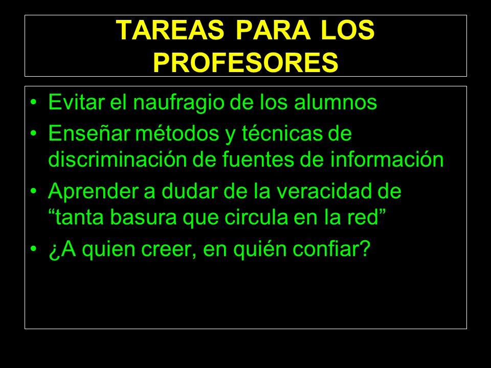 TAREAS PARA LOS PROFESORES