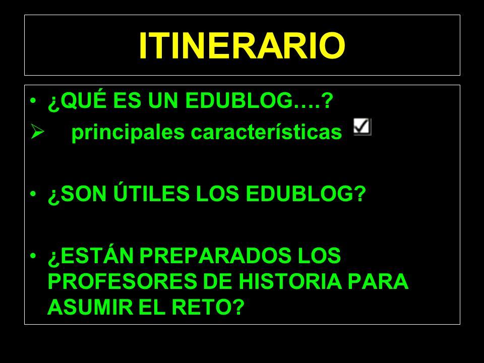 ITINERARIO ¿QUÉ ES UN EDUBLOG…. principales características