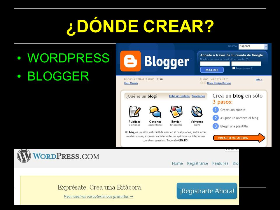 ¿DÓNDE CREAR WORDPRESS BLOGGER