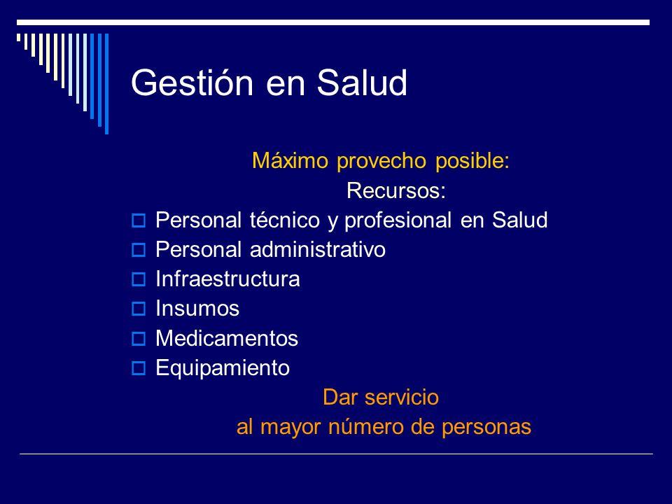 Gestión en Salud Máximo provecho posible: Recursos: