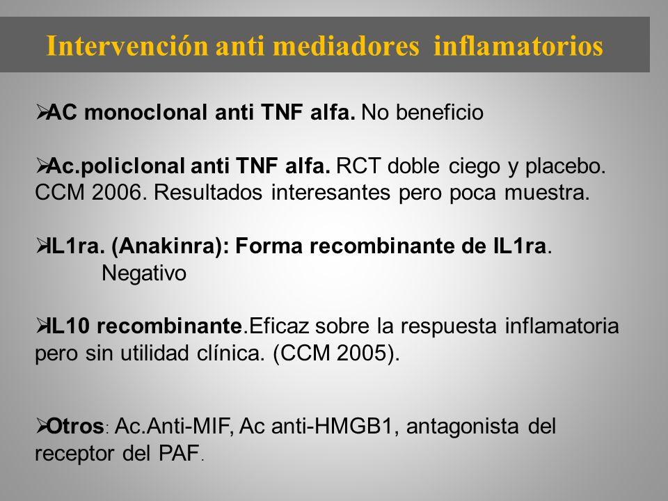 Intervención anti mediadores inflamatorios