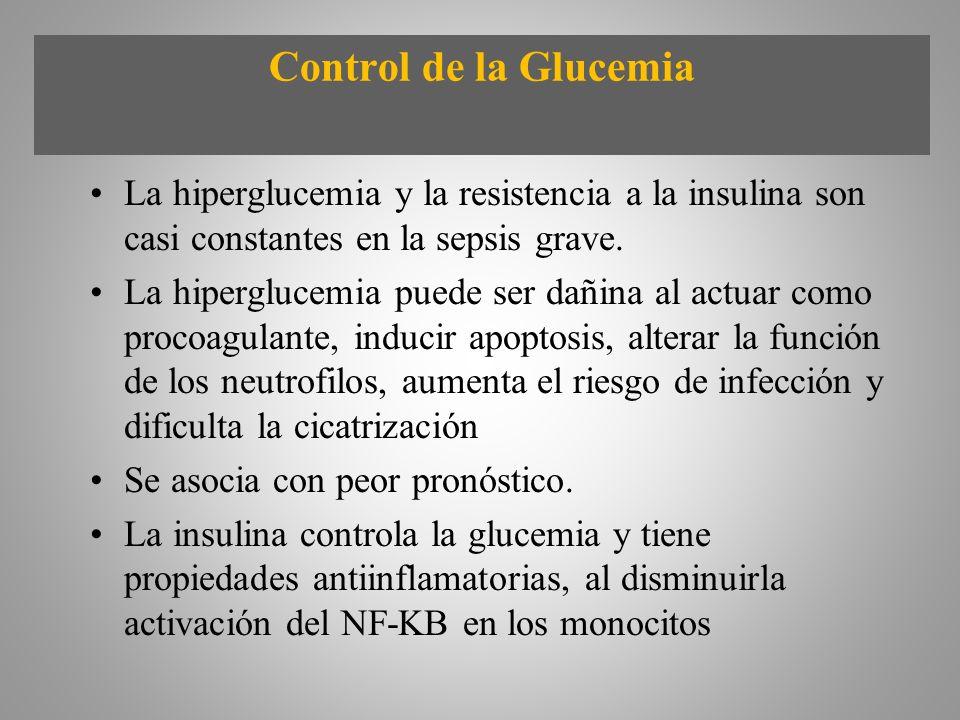 Control de la Glucemia La hiperglucemia y la resistencia a la insulina son casi constantes en la sepsis grave.