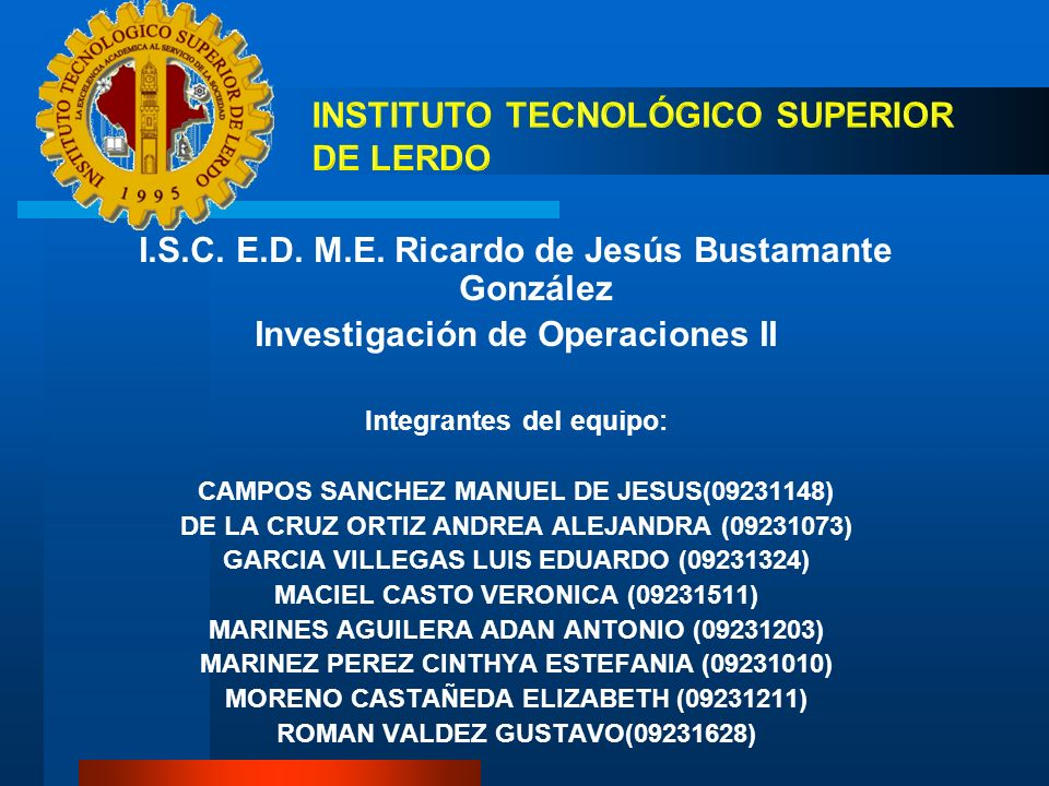 INSTITUTO TECNOLÓGICO SUPERIOR DE LERDO