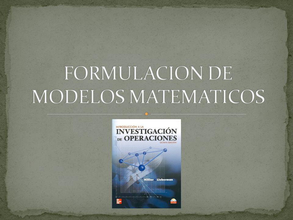 FORMULACION DE MODELOS MATEMATICOS