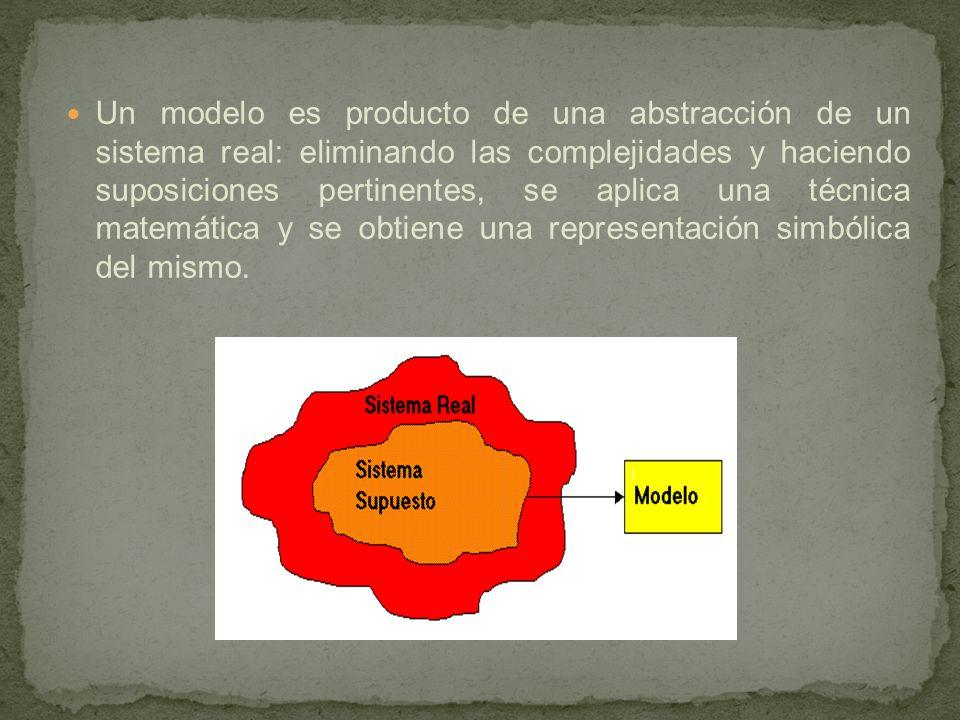 Un modelo es producto de una abstracción de un sistema real: eliminando las complejidades y haciendo suposiciones pertinentes, se aplica una técnica matemática y se obtiene una representación simbólica del mismo.
