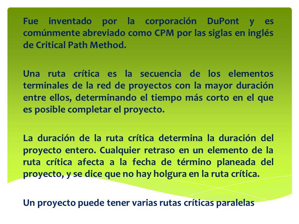 Fue inventado por la corporación DuPont y es comúnmente abreviado como CPM por las siglas en inglés de Critical Path Method.