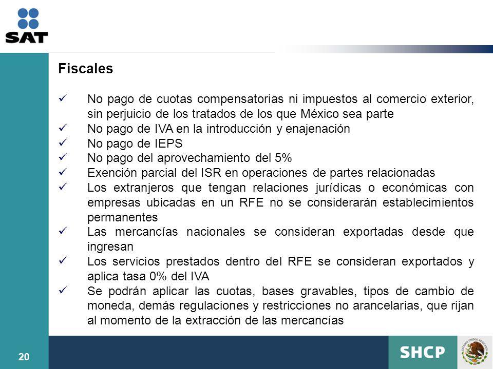Fiscales No pago de cuotas compensatorias ni impuestos al comercio exterior, sin perjuicio de los tratados de los que México sea parte.