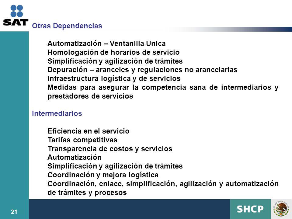Otras Dependencias Automatización – Ventanilla Unica. Homologación de horarios de servicio. Simplificación y agilización de trámites.
