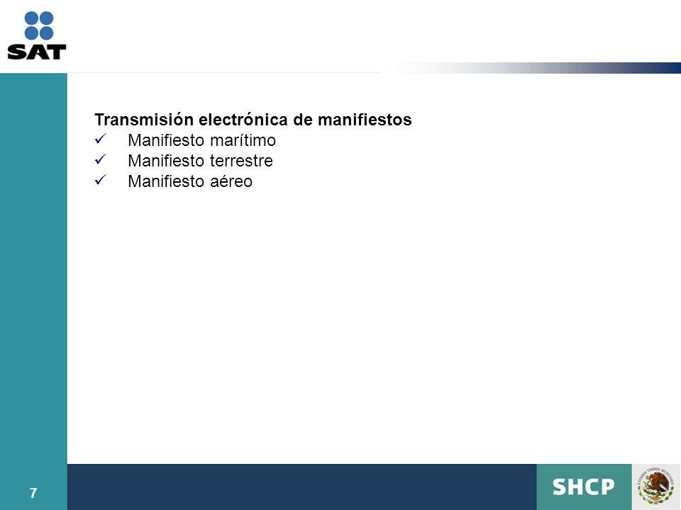 Transmisión electrónica de manifiestos Manifiesto marítimo