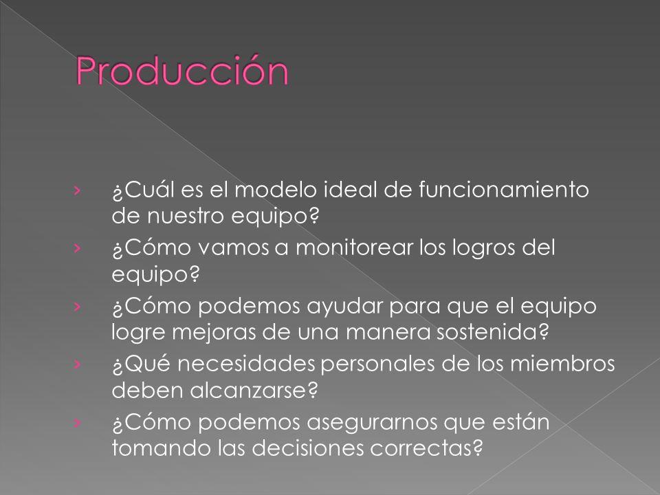 Producción ¿Cuál es el modelo ideal de funcionamiento de nuestro equipo ¿Cómo vamos a monitorear los logros del equipo