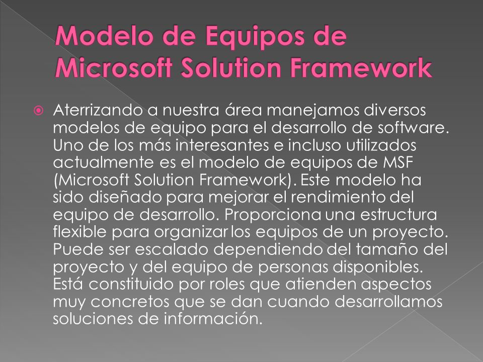 Modelo de Equipos de Microsoft Solution Framework