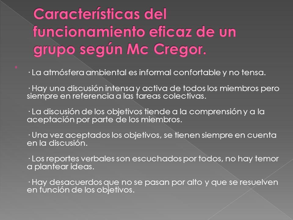 Características del funcionamiento eficaz de un grupo según Mc Cregor.