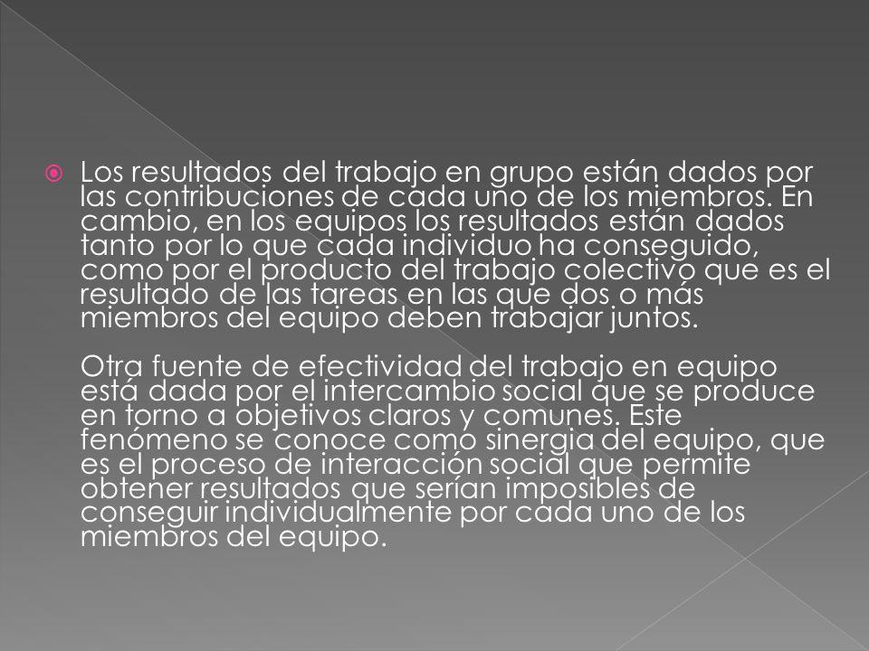 Los resultados del trabajo en grupo están dados por las contribuciones de cada uno de los miembros.