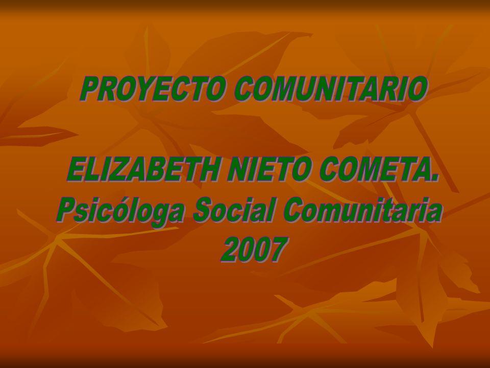 ELIZABETH NIETO COMETA. Psicóloga Social Comunitaria 2007