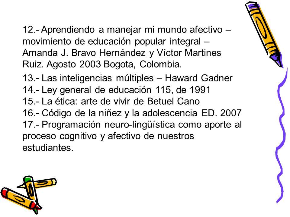 12.- Aprendiendo a manejar mi mundo afectivo – movimiento de educación popular integral – Amanda J. Bravo Hernández y Víctor Martines Ruiz. Agosto 2003 Bogota, Colombia.