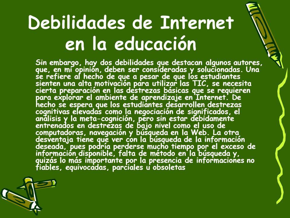 Debilidades de Internet en la educación