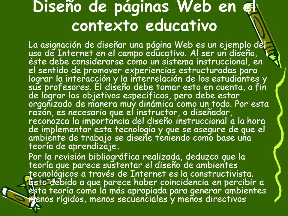 Diseño de páginas Web en el contexto educativo