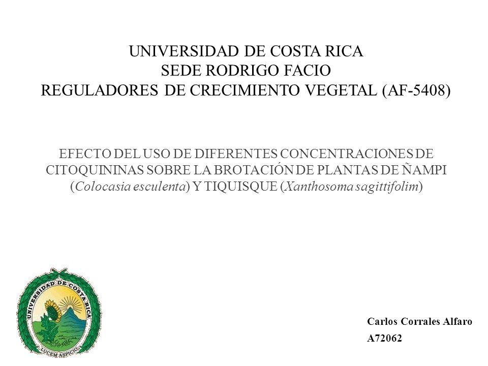 UNIVERSIDAD DE COSTA RICA SEDE RODRIGO FACIO REGULADORES DE CRECIMIENTO VEGETAL (AF-5408)