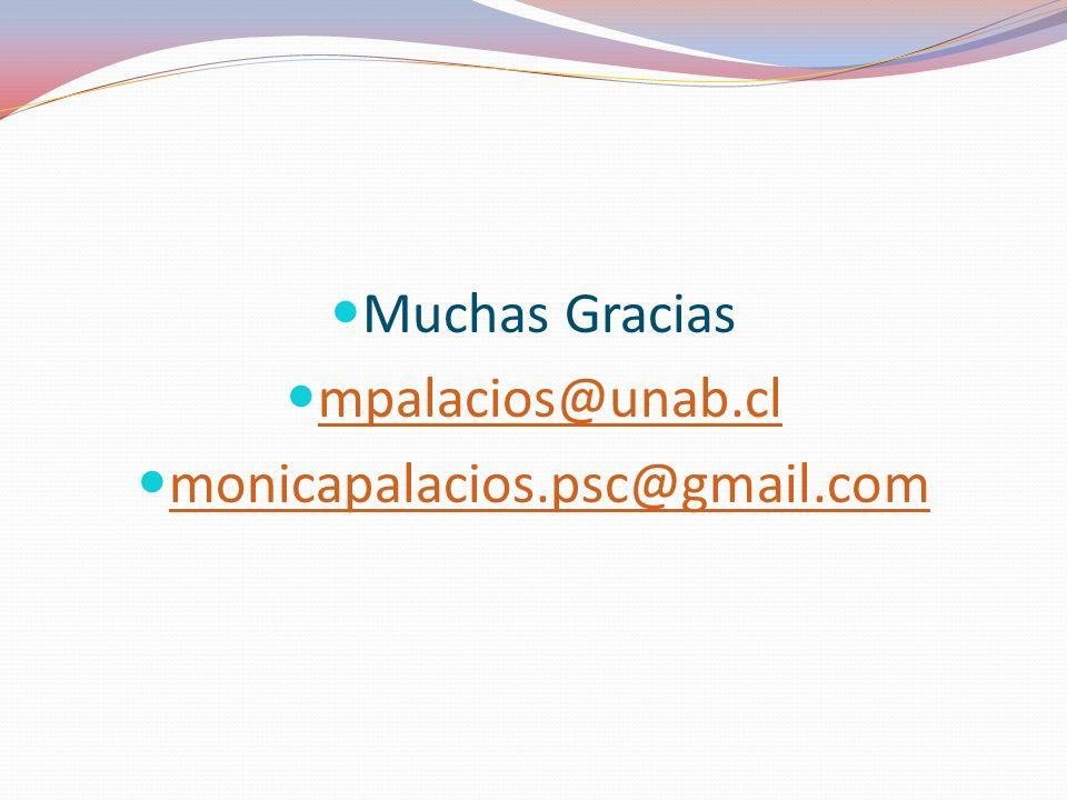 Muchas Gracias mpalacios@unab.cl monicapalacios.psc@gmail.com