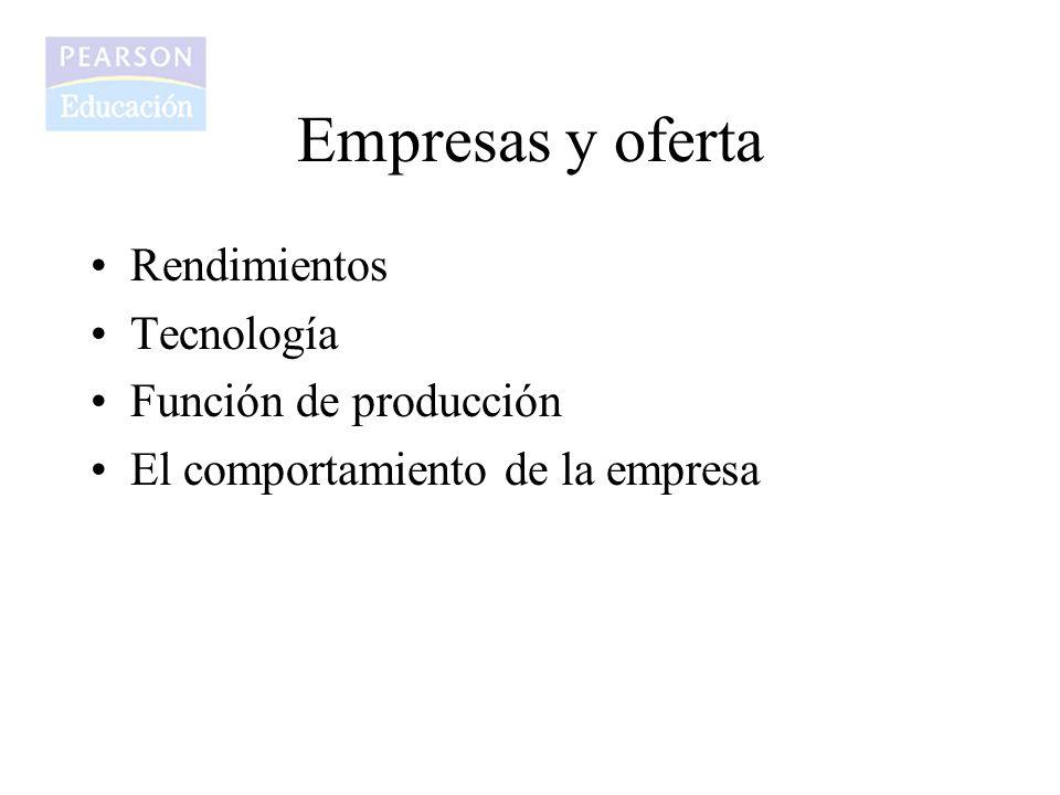 Empresas y oferta Rendimientos Tecnología Función de producción