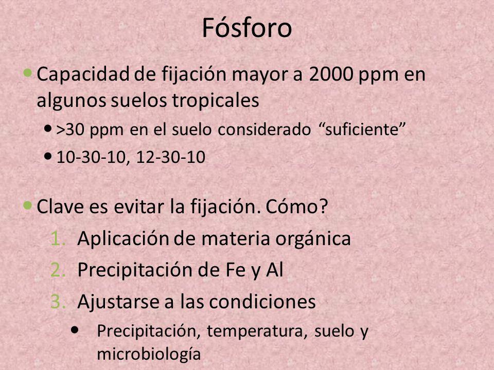 Fósforo Capacidad de fijación mayor a 2000 ppm en algunos suelos tropicales. >30 ppm en el suelo considerado suficiente