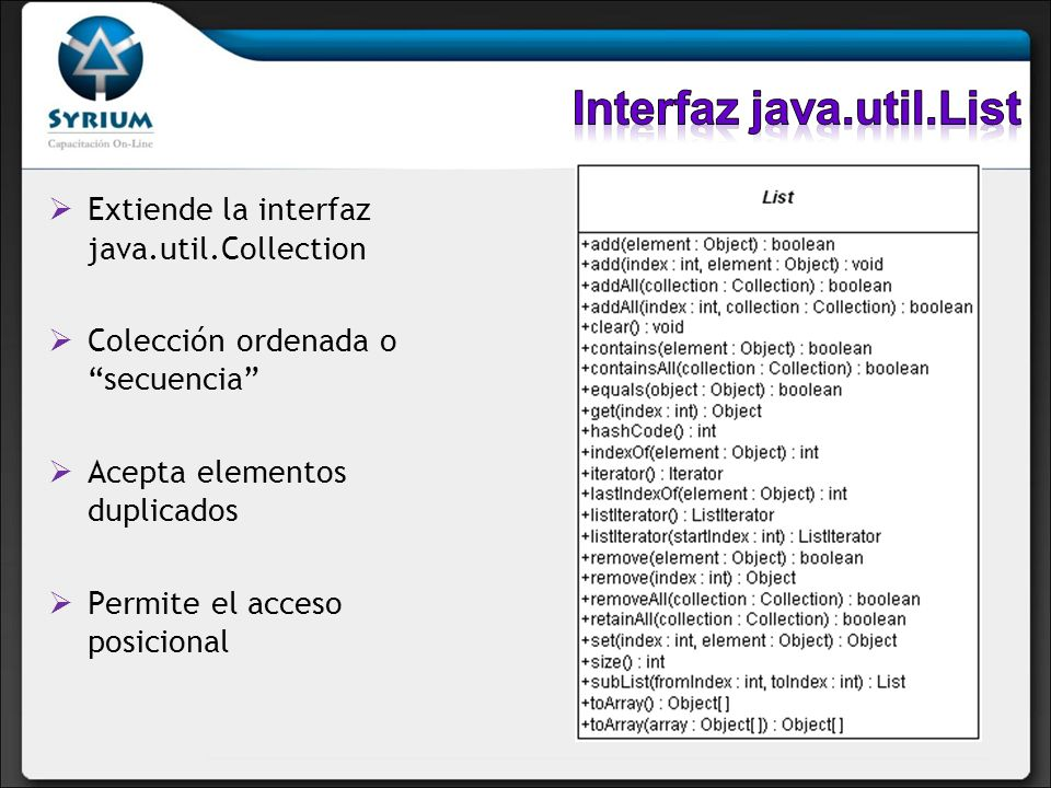 Interfaz java.util.List