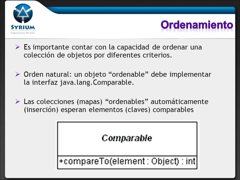 Ordenamiento Es importante contar con la capacidad de ordenar una colección de objetos por diferentes criterios.