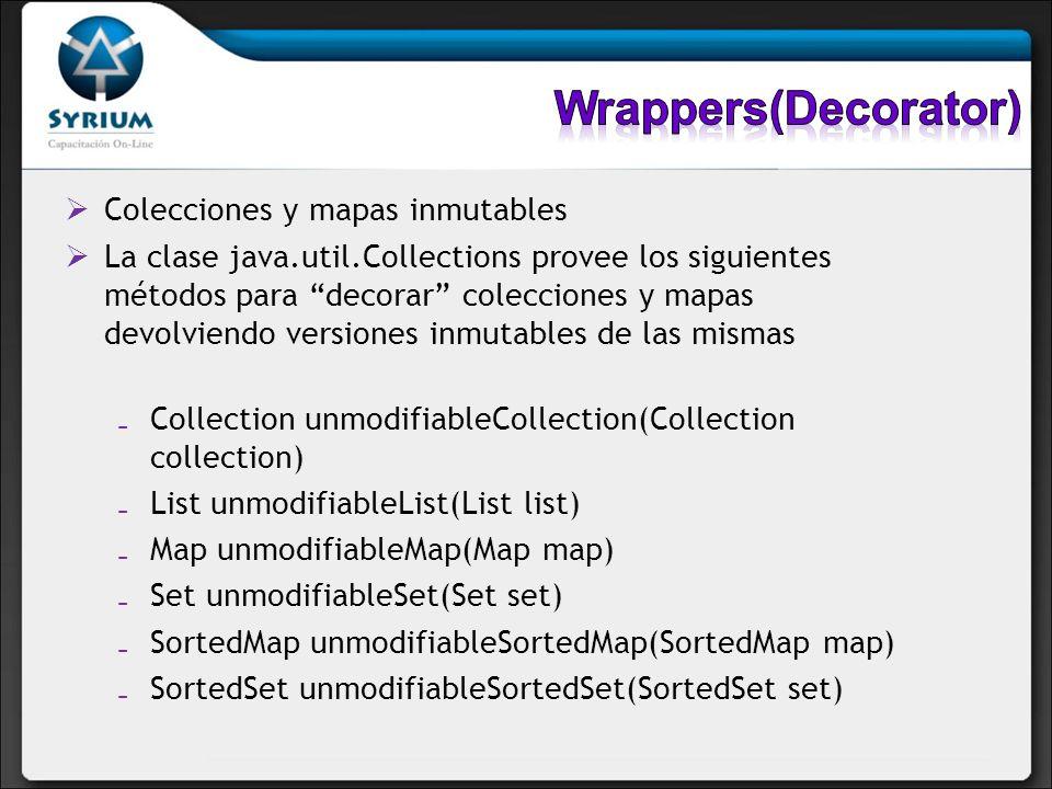 Wrappers(Decorator) Colecciones y mapas inmutables