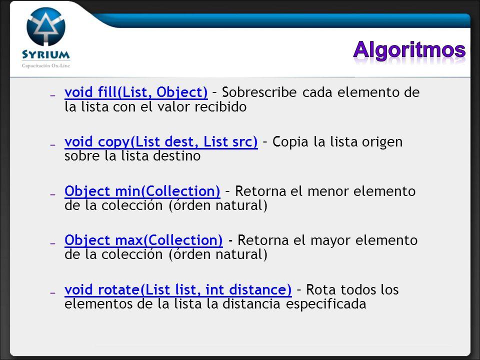Algoritmos void fill(List, Object) – Sobrescribe cada elemento de la lista con el valor recibido.