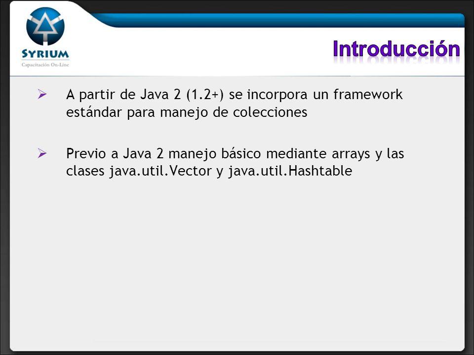 Introducción A partir de Java 2 (1.2+) se incorpora un framework estándar para manejo de colecciones.