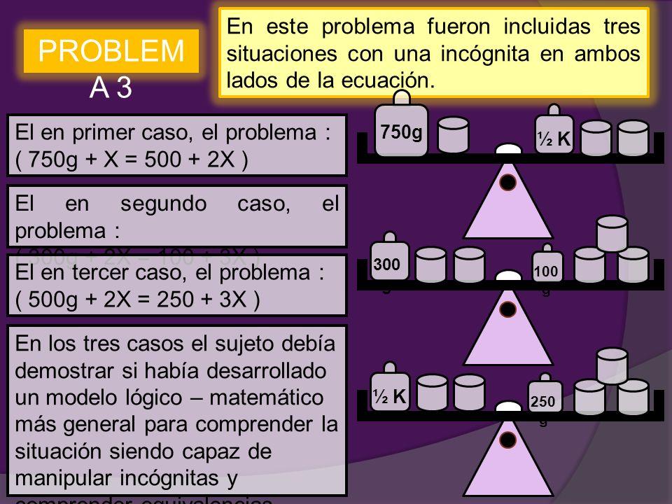 En este problema fueron incluidas tres situaciones con una incógnita en ambos lados de la ecuación.