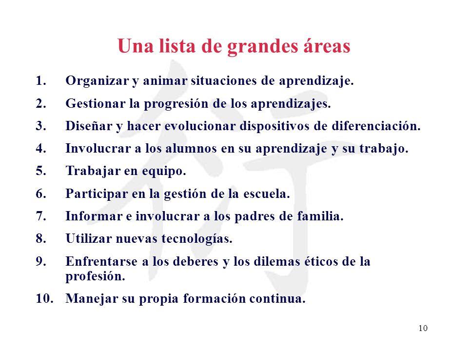 Una lista de grandes áreas