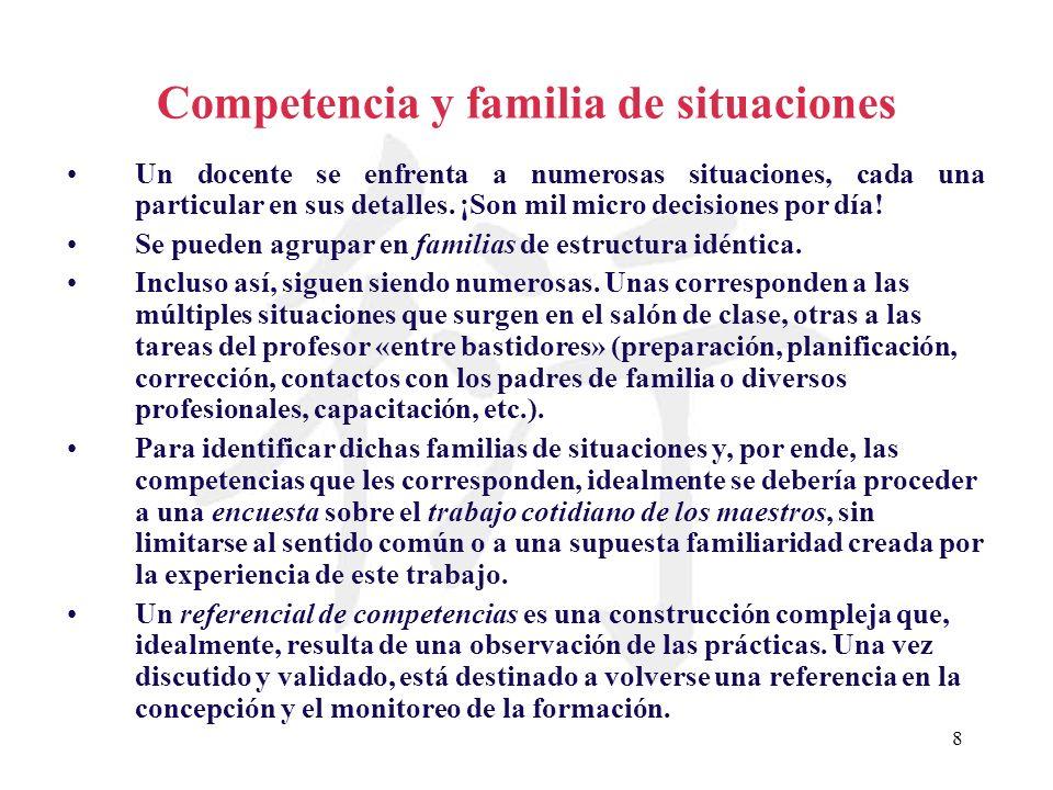 Competencia y familia de situaciones