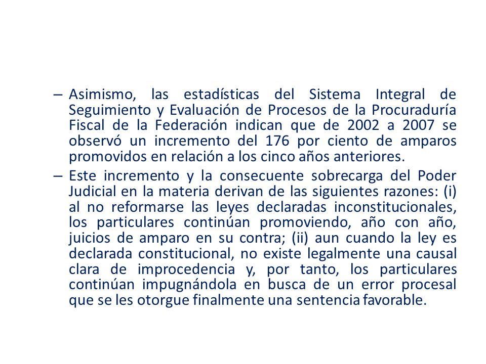 Asimismo, las estadísticas del Sistema Integral de Seguimiento y Evaluación de Procesos de la Procuraduría Fiscal de la Federación indican que de 2002 a 2007 se observó un incremento del 176 por ciento de amparos promovidos en relación a los cinco años anteriores.