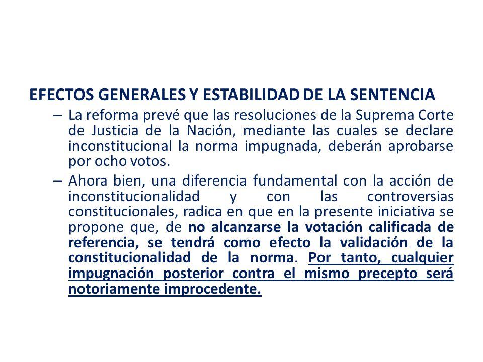 EFECTOS GENERALES Y ESTABILIDAD DE LA SENTENCIA