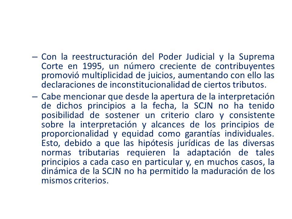 Con la reestructuración del Poder Judicial y la Suprema Corte en 1995, un número creciente de contribuyentes promovió multiplicidad de juicios, aumentando con ello las declaraciones de inconstitucionalidad de ciertos tributos.