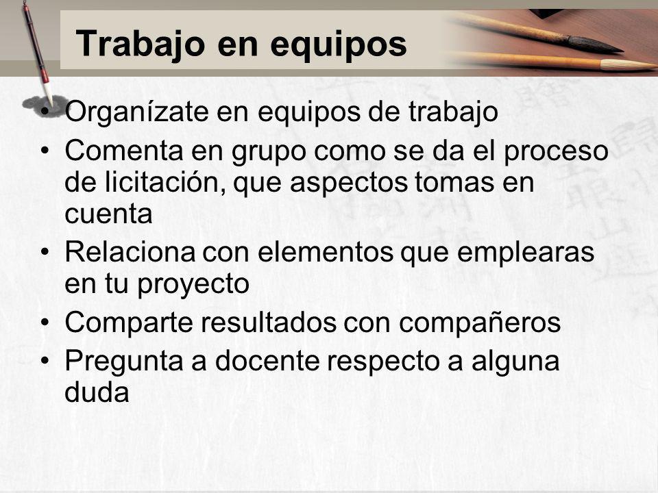Trabajo en equipos Organízate en equipos de trabajo