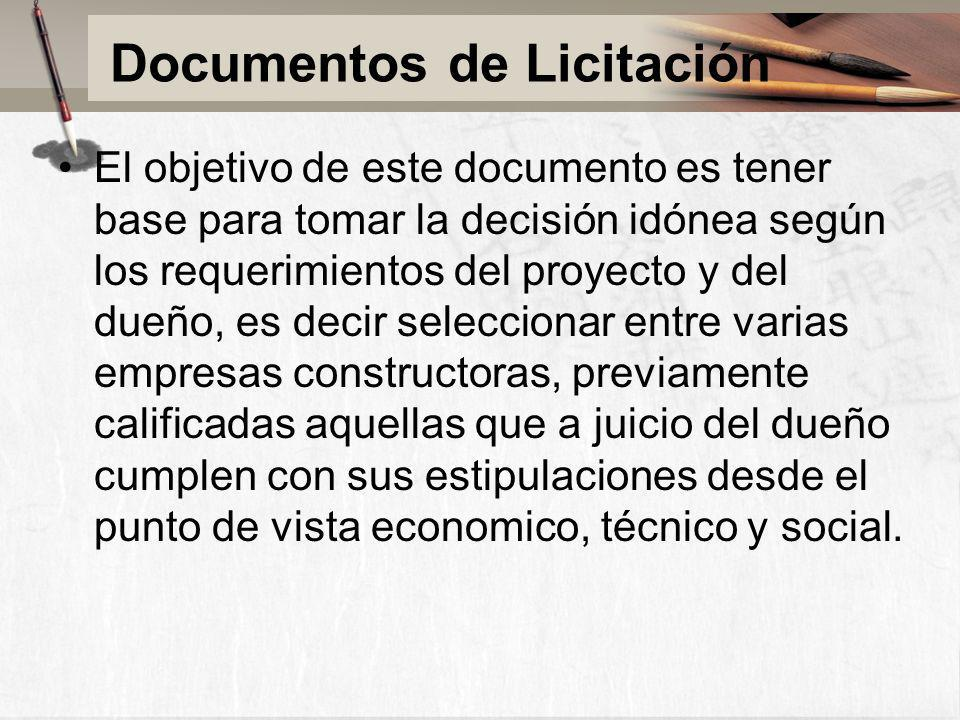 Documentos de Licitación