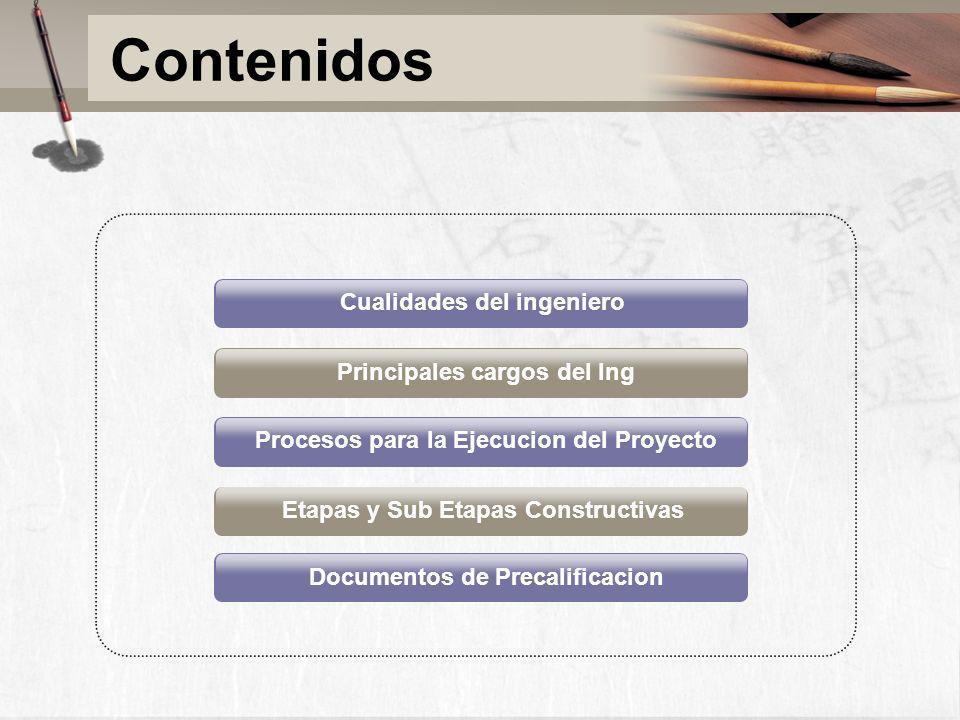 Contenidos Cualidades del ingeniero Principales cargos del Ing