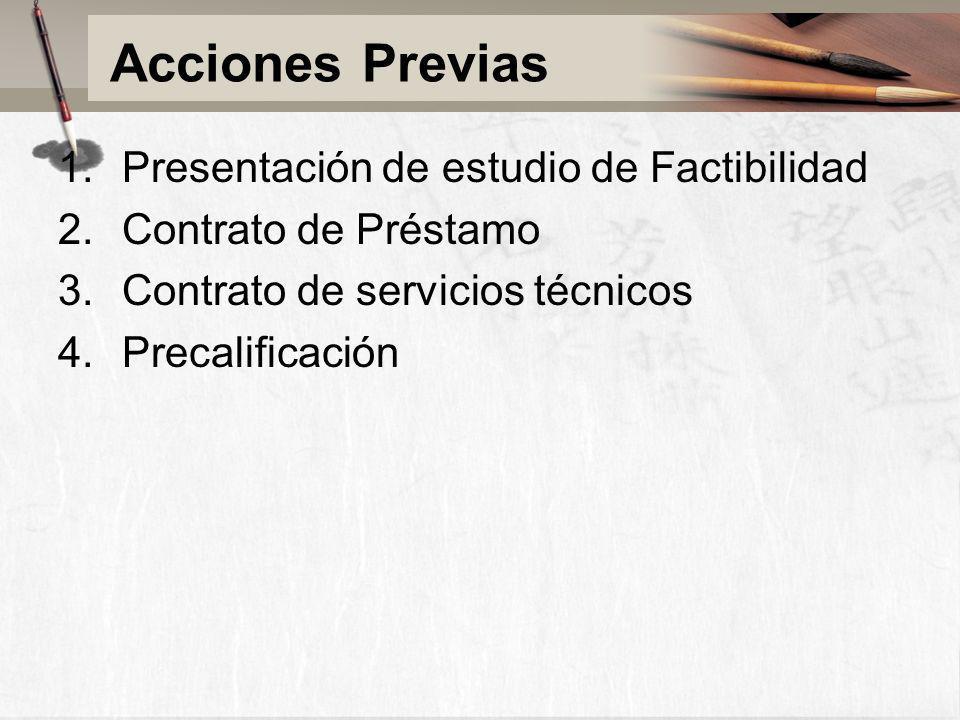 Acciones Previas Presentación de estudio de Factibilidad