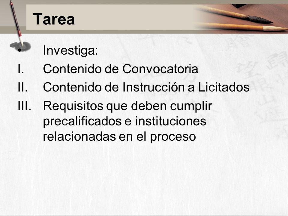 Tarea Investiga: Contenido de Convocatoria