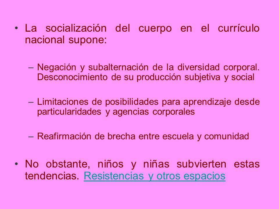 La socialización del cuerpo en el currículo nacional supone: